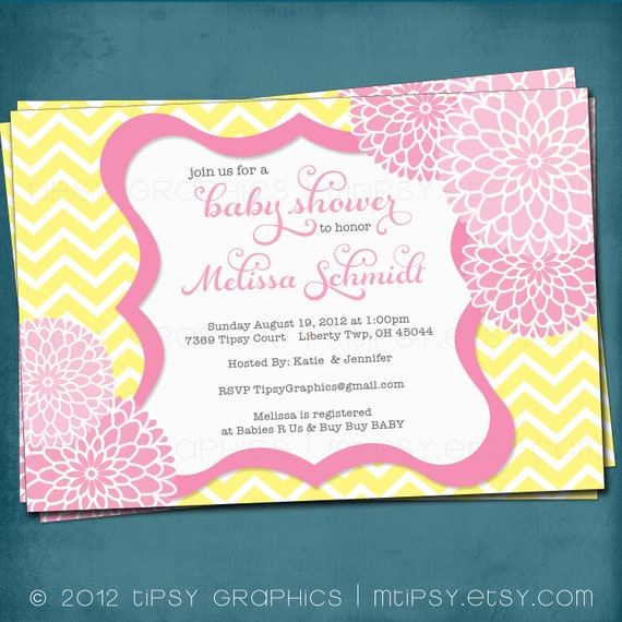 Chevron Mums Baby / Bridal Shower Invite. Yellow Pink Blush Pink.  Any colors and text. Spa Pom Pom. DiY Printable by Tipsy Graphics.