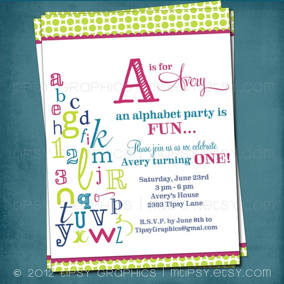 Alphabet Birthday Invitation. Colorful ABC Library Invite.Any colors and text by Tipsy Graphics