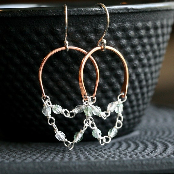 Handmade dangle chain hoops, green Czech glass beads, copper earrings, sterling silver, mixed metal, wire wrapped