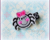 PRETTY BITSY SPIDER with hot pink bow felt hair clip for baby, infant, children, teen or adult machine embroidered for Halloween feltie