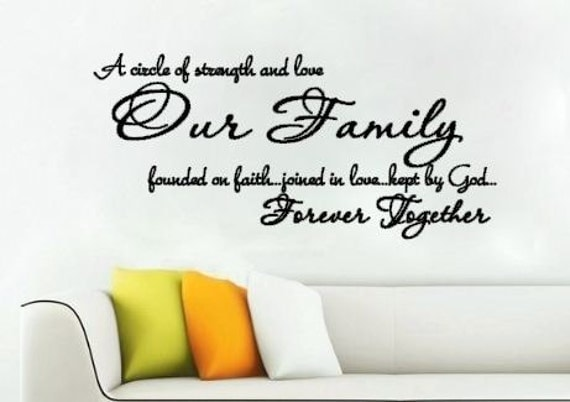 A Circle of Strength and Love Our Family Faith Joined in Love Kept by God Forever Together Vinyl Wall Decal