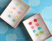 Girls Flower Post Earrings Set