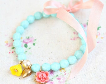 Girls Pale Blue Stretchy Charm Bracelet- Flower Girl Bracelet, valentines bracelet, heart charm bracelet