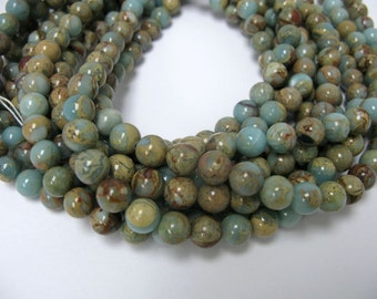 """4mm 16 """" long round smooth  African opal beads"""