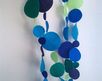 Felt Garland Dots Blues and Greens 8 FEET Decoration for Birthday Party, Bedroom or Tree