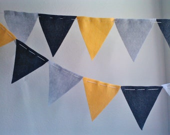 Bunting Flags- Charcoal Grey Yellow eco felt pennants