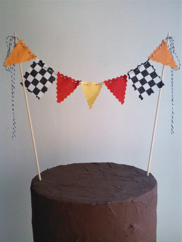 Cake Topper Boys Race Car Flags Nascar Monster Truck Cake