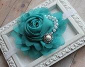 Teal Blue Chiffon Rose Flower Headband Pearls Rhinestones Rosette Girls Hair Accessories (A3)