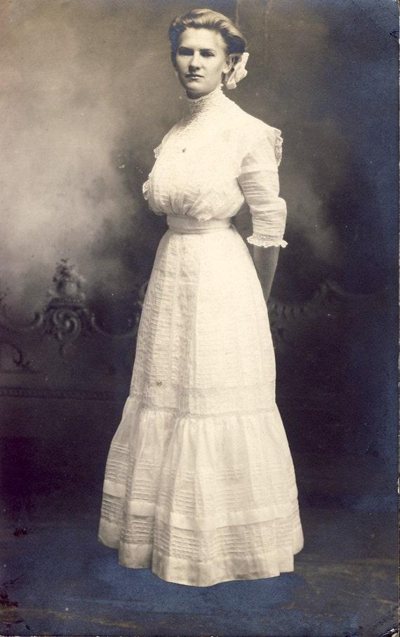 Pretty Young Woman In Beautiful Edwardian Cotton Dress Photo