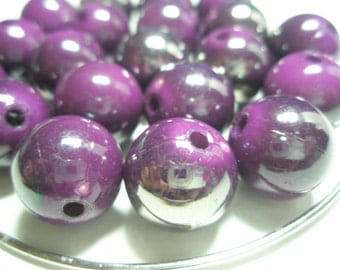 Purple SHIMMER Beads Spacers  - (16 mm) - Basketball Wives Inspired - 10 pieces
