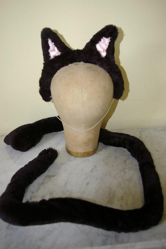 Handmade black cat catwoman ears headband and tail