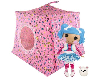 Toy Pop Up Tent, Sleeping Bags, pink, flower & heart print fabric