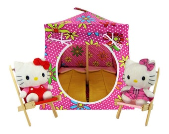 Toy Pop Up Tent, Sleeping Bags, pink, polka dot & daisy print fabric