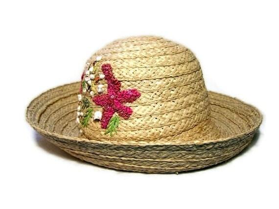 Vintage Straw Sun Hat Liz Claiborne 1980s Summer Beach Trip