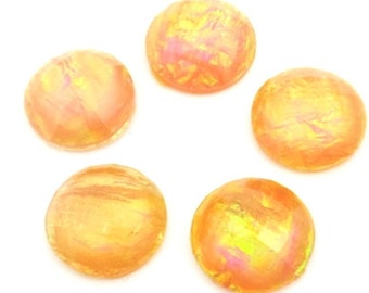 6 pcs. acrylic Yellow tone cabochons , round , 18mm