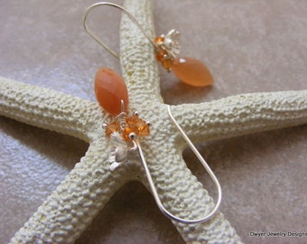 Peach Moonstone Earrings with Orange Topaz Buttons