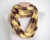 Finger Knitting Scarf Brown Yellow   Multicolor  Necklace Long Winter Accessories Holiday Accessories-chain loop scarf