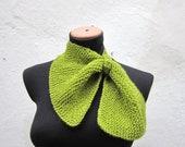 Cowl- Hand Knitted Neck Warmer  - Women  Winter  Accessories Green