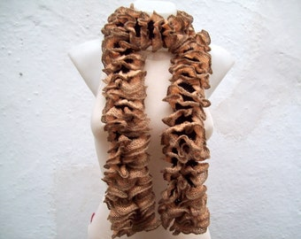 Soft Ruffle Scarf, Knit Scarves, Frilly Accessories, Brown, Women Curly Neckwarmer, Knitting Lace, Fall, Autumn Color, Salsa scarf, Brown