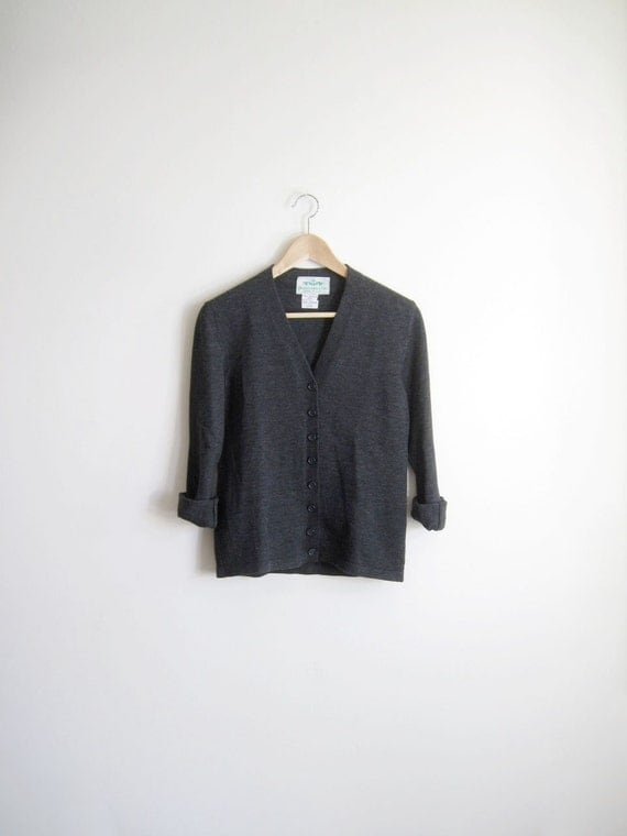 Vintage Abercrombie & Fitch Gray Wool Cardigan Sweater xs-s