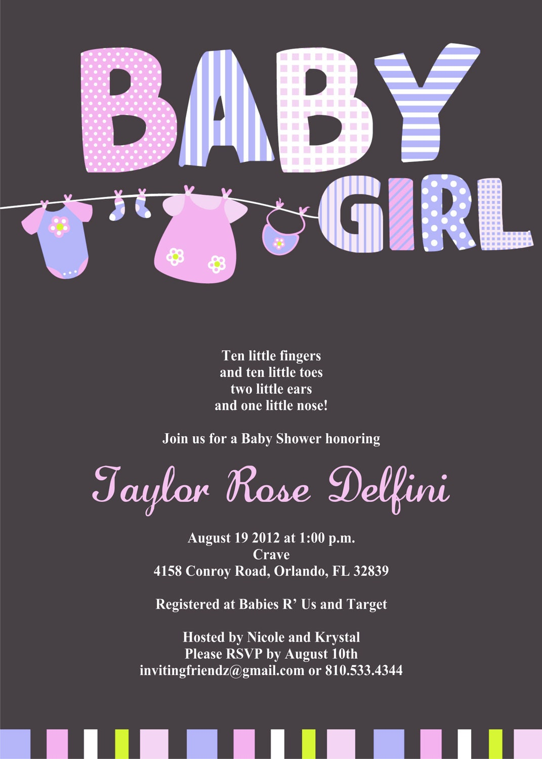 Baby Girl Clothes Line Shower Invitation