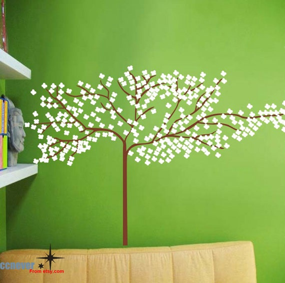 Snowflakes Flying Tree----Removable Graphic Art wall decals stickers home decor