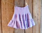 womens hand knit lavender skirt  // size small, medium