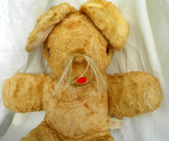Vintage Stuffed Animal, Floppy Ear Rabbit Toy with whiskers sticking out his tongue, Woolno Company, Brooklyn New York