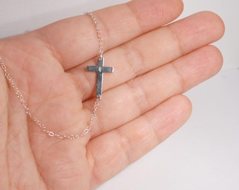 Sideways cross necklace, sterling silver necklace, celebrity inspired necklace
