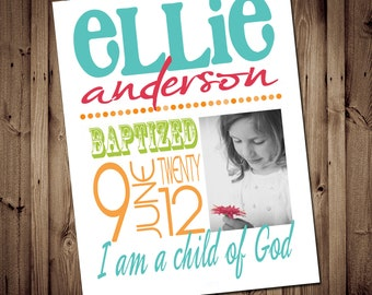 DIY Printable LDS Baptism Subway ART  -  8x10 Art Print - Personalized for your child