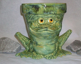 Ceramic Planter Frog.green flower pot
