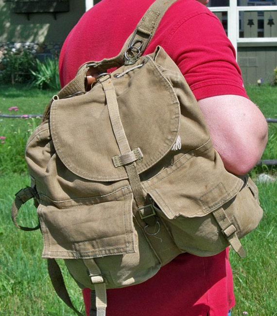 Vintage Army Surplus Backpack - Rucksack - Canvas and Leather - Nicely Distressed