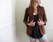 Vintage Brown Suede Jacket Womens Fitted Blazer Size Small Retro 70s