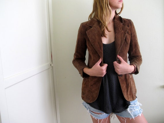 Vintage Brown Suede Jacket Womens Fitted Blazer Size Small