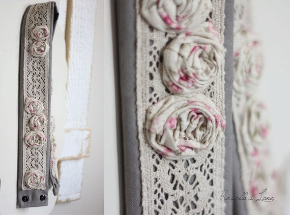 dslr camera strap cover - slate grey - pink floral rosettes - lace strap cover- Ready to ship
