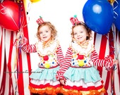 Halloween Costume Custom Carnival Circus Clown Toddler Girl Birthday Dress, Top and Ruffle Pants Set