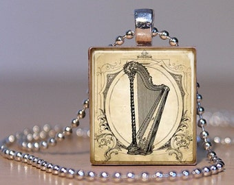 Harp Vintage Art Pendant on an Upcycled Scrabble Tile (143D8)