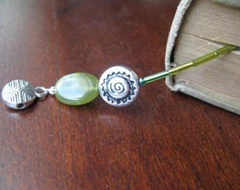 Bookmark: Green Moss Agate Beaded
