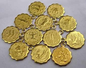 1 Set of Twelve Zodiac Signs Small Raw Brass Charms in Gold 12pcs