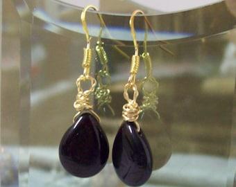 Garnet Teardrop Bead Earrings, Dangle Earrings, Wire Wrapped Briolette Earrings
