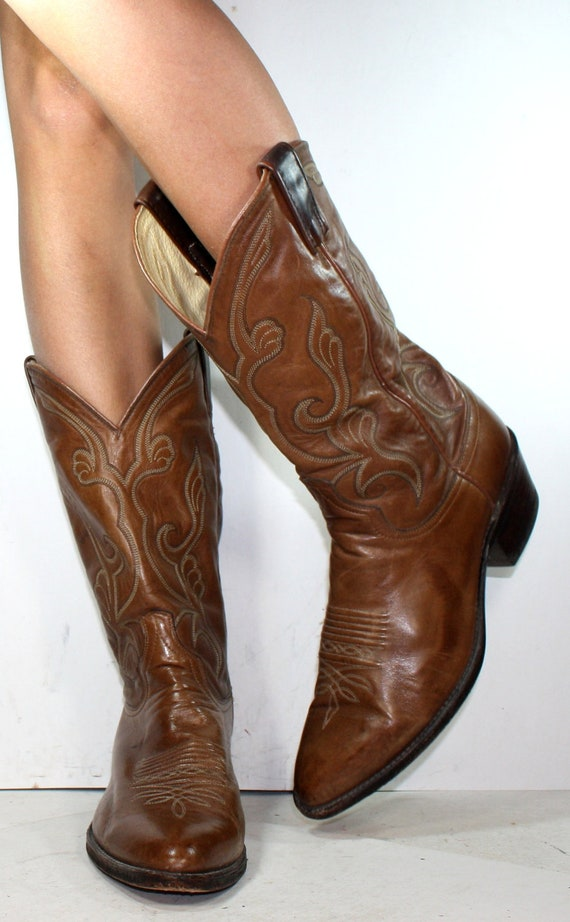Vintage cowboy low heel mid calf pixie dan post western brown Leather fashion boots 10.5 D mens 11.5 womens