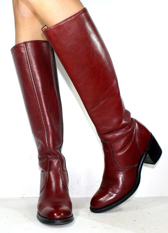 vintage burgundy maroon low heel cus miss capezio knee