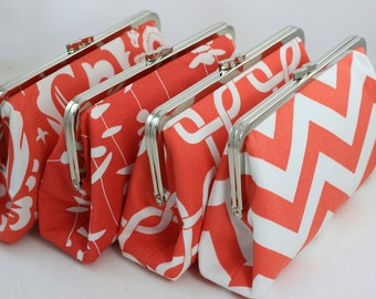 Coral Color Scheme - 8 inches Bridal and Bridesmaid's Silver Frame Clutches - Set of 4
