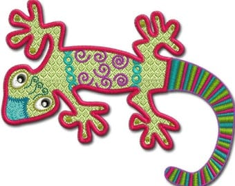 Crazy Gecko Applique , Machine embroidery Designs