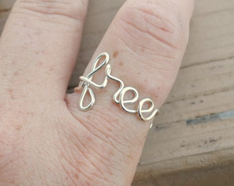 Word Ring, Wire Word Ring Adjustable Wire Ring, Word Ring FREE Non Tarnish Silver Plated Wire