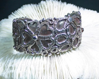 Sterling silver bracelet Modernest overlay style flowers and hearts large wide thick,JS-br-013