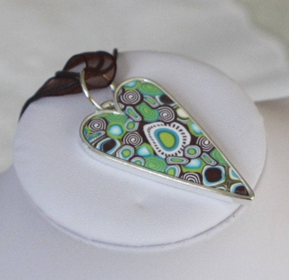 Heart pendant necklace, millefiori polymer clay, brown green and turquoise