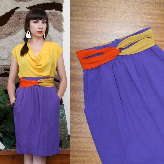 Vintage 80s 90s Colorblock Tulip Skirt Small