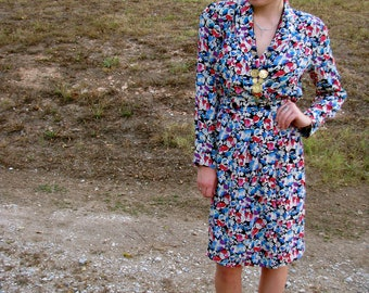 Vintage 1980s FLORAL Secretary DRESS with Fun Pleating