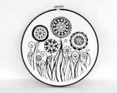Hand Embroidered Abstract Flower and Swirl Garden in Black and White, 9 inch Original Embroidery Hoop Wall Art by SometimesISwirl